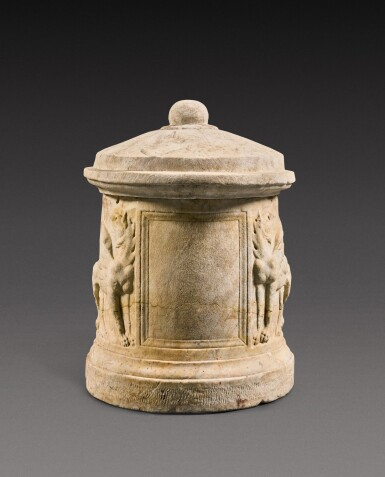 View 3. Thumbnail of Lot 73. A Roman Marble Cinerary Urn and Lid, circa 1st Century A.D..