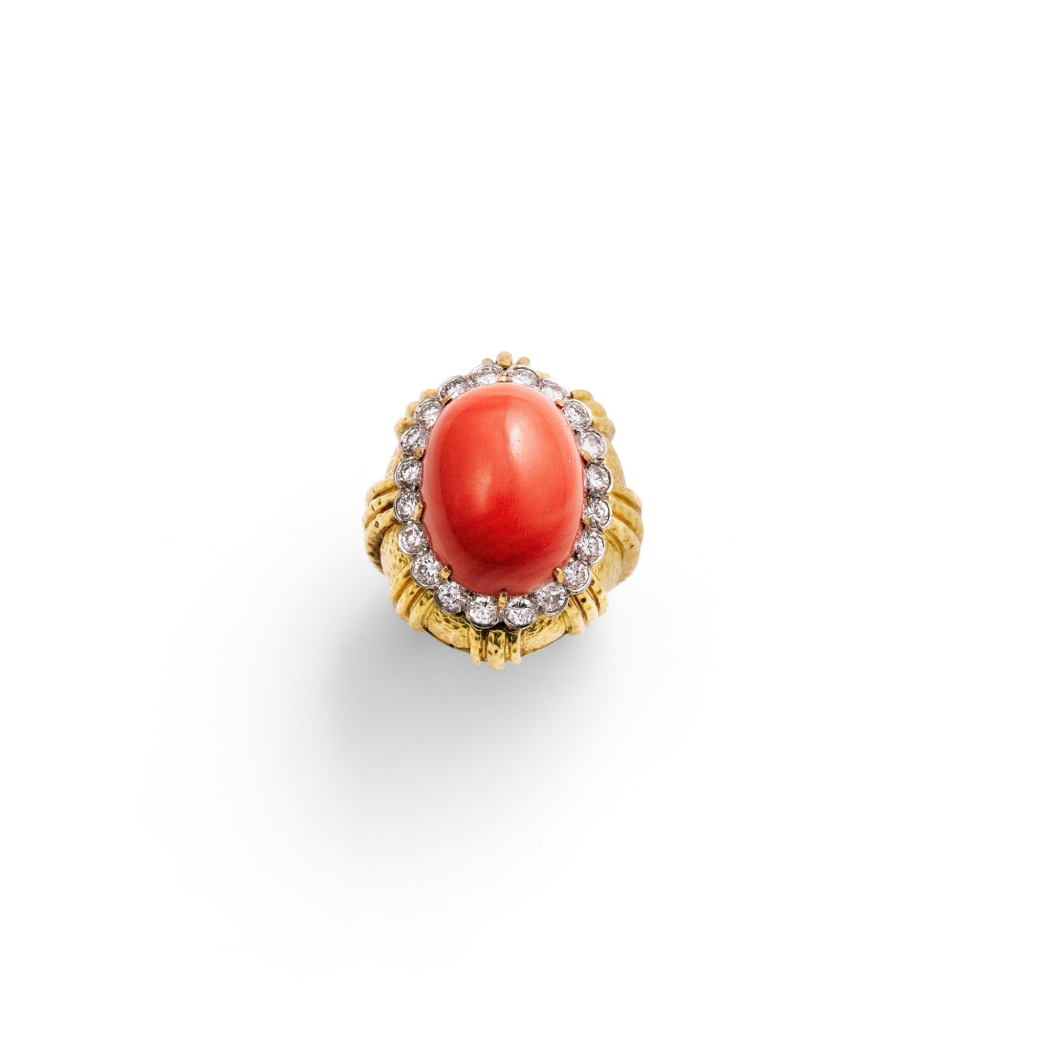 View full screen - View 1 of Lot 108. Coral and diamond ring [Bague corail et diamants].