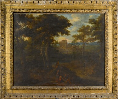 View 2. Thumbnail of Lot 166. A classical landscape with figures in the foreground, a castle beyond.