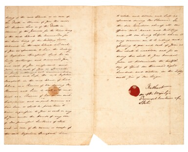 View 2. Thumbnail of Lot 9. BATHURST   warrant, appointing Sir Hudson Lowe jailer to Napoleon, 1816.