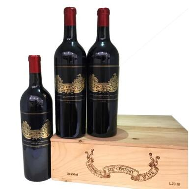 View 2. Thumbnail of Lot 6. Chateau Palmer Historical Nineteenth Century Wine 20.10 NV, Margaux - 3 Bottles (0.75L).