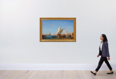 View 4. Thumbnail of Lot 28. FÉLIX ZIEM | BOATS ON THE BACINO SAN MARCO, WITH THE PUNTA DELLA DOGANA, SANTA MARIA DELLA SALUTE, PALAZZO DUCALE AND THE CAMPANILE IN THE DISTANCE, VENICE.