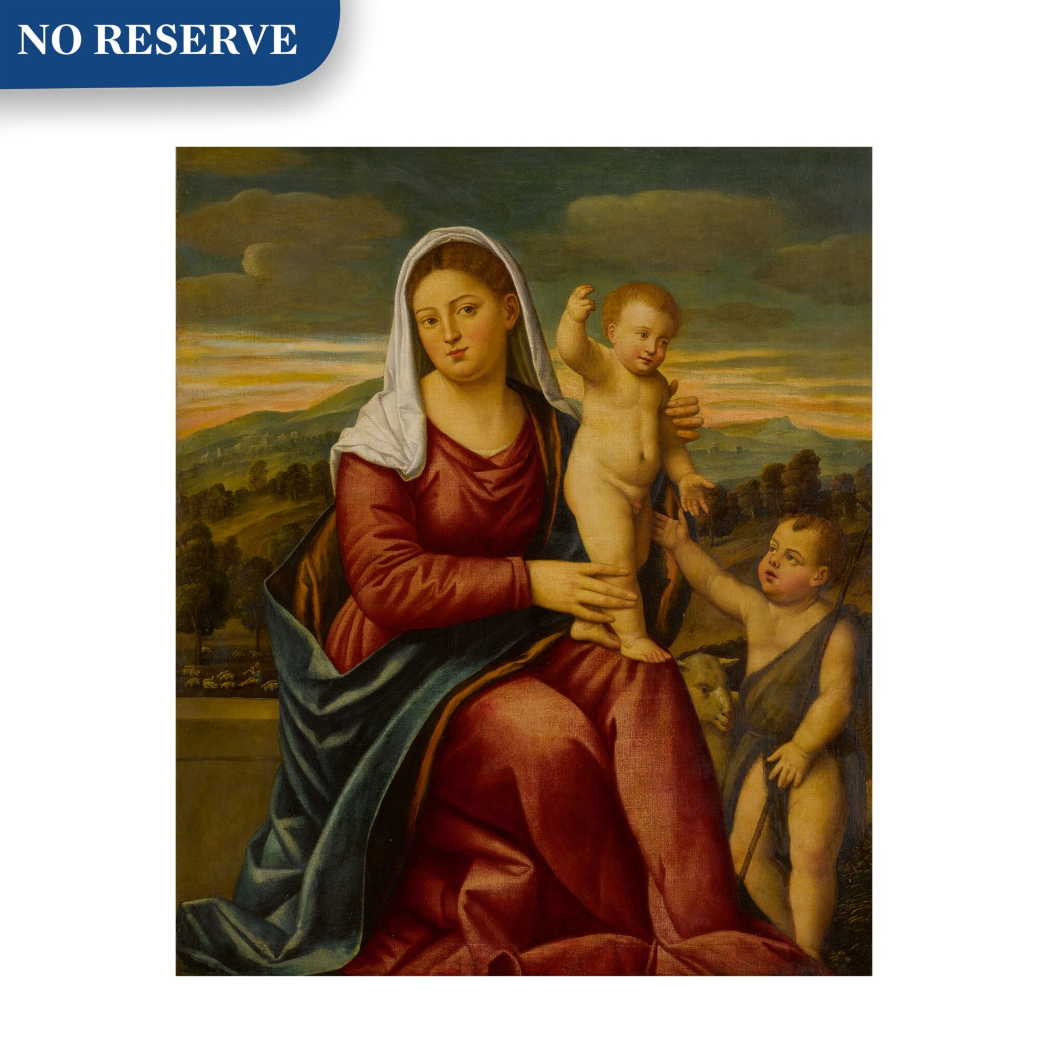 View full screen - View 1 of Lot 11. Madonna and child with Saint John the Baptist.