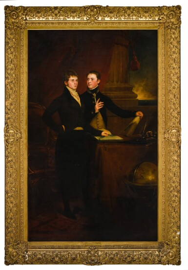 View 2. Thumbnail of Lot 171. Portrait of the Rt. Hon. Sir Edward Knatchbull, later 9th Bt. (1781-1849), with his brother Norton Joseph Knatchbull (d. 1801), both standing by a table, a globe to the right.