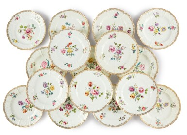 View 1. Thumbnail of Lot 110. A Set of Sixteen English Porcelain Dinner Plates, Mid-19th Century.