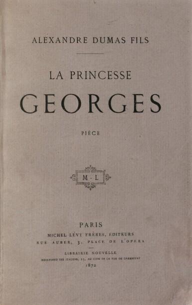 View 3. Thumbnail of Lot 96. La Princesse Georges. Paris,1872. In-8. Exemplaire de George Sand avec une LAS de Dumas fils..