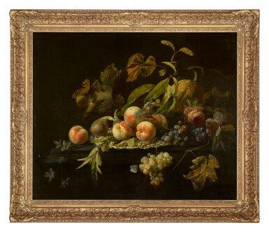 View 2. Thumbnail of Lot 57. HERMAN PIETERSZ. VERELST    Still life of peaches, a fig, a watermelon, bunches of grapes and a rose arranged on and around a silver dish on a ledge.