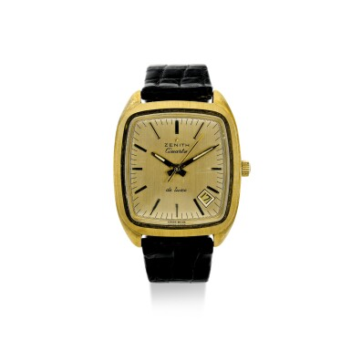 ZENITH |  REFERENCE GB70111 'BETA 21' A YELLOW GOLD TONNEAU SHAPED QUARTZ WRISTWATCH WITH DATE, CIRCA 1970