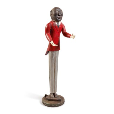 RARE CARVED AND POLYCHROME PAINT-DECORATED PINE AFRICAN AMERICAN MINSTREL FIGURE, CIRCA 1925