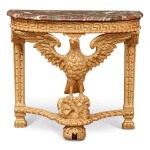 A GEORGE II GILTWOOD CONSOLE TABLE, LATE 19TH/EARLY 20TH CENTURY, INCORPORATING EARLIER ELEMENTS