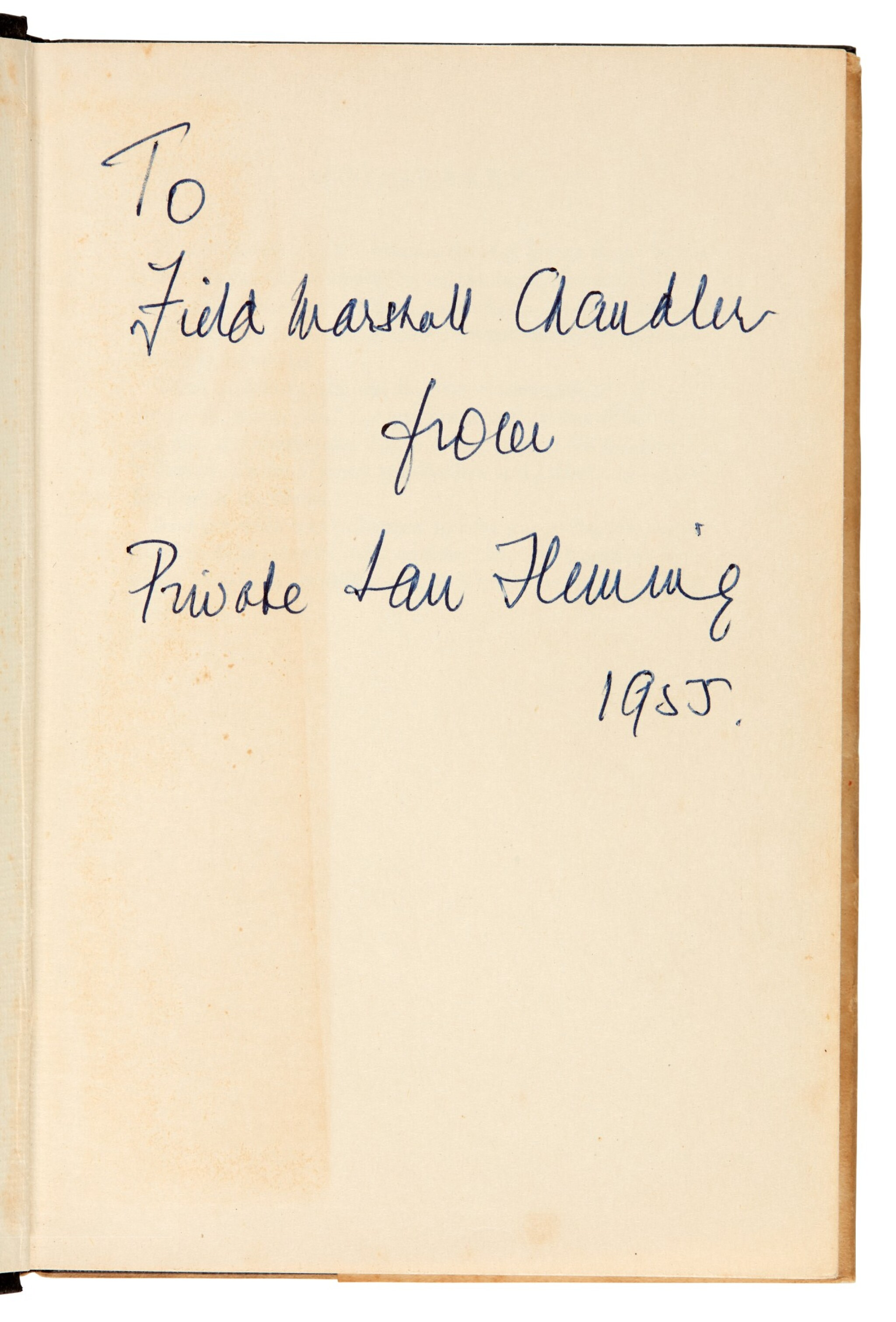 View full screen - View 1 of Lot 16. FLEMING   Moonraker, 1955, first edition, presentation copy inscribed to Raymond Chandler.