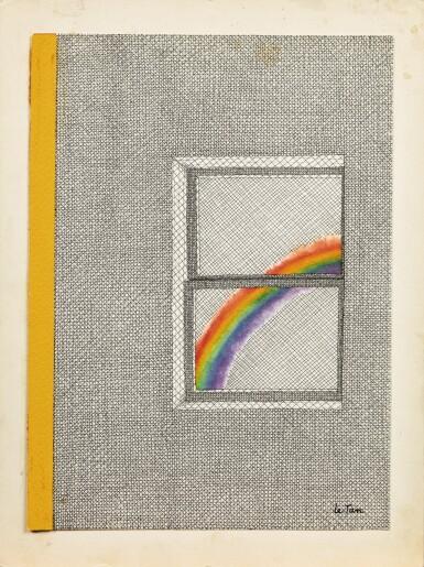 View 2. Thumbnail of Lot 49. Une couverture pour The New Yorker : un arc-en-ciel vu d'une fenêtre.