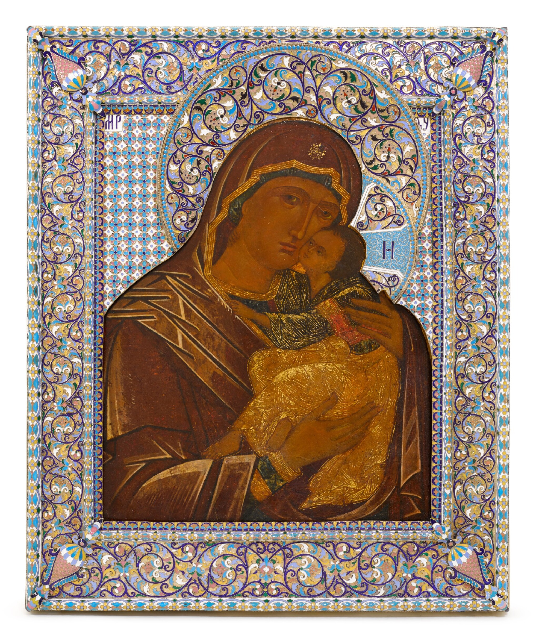 View full screen - View 1 of Lot 253. An Impressive and large silver and cloisonné enamel icon of the Vladimirskaya Mother of God, Vasily Salamatin, Moscow, 1899-1908.