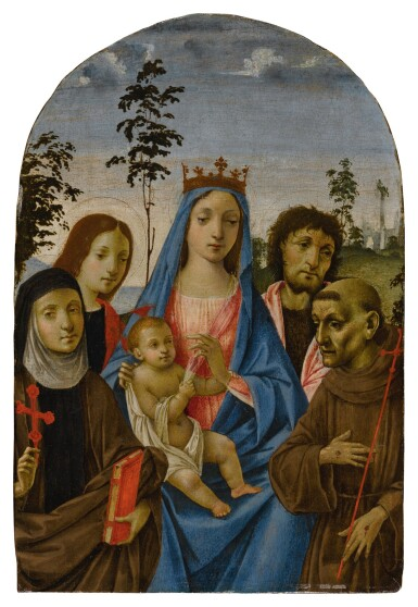 View 1. Thumbnail of Lot 507. Madonna and Child with Saints Clare, John the Evangelist, John the Baptist, and Francis.