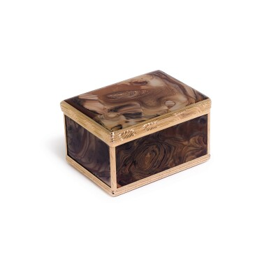 View 1. Thumbnail of Lot 309. A gold-mounted agate snuff box, probably Dresden, circa 1770.