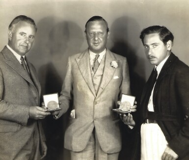 View 3. Thumbnail of Lot 197. [JOSEF VON STERNBERG]   Gold medal presented to Josef von Sternberg by Paramount Famous Lasky Corporation, for Underworld (1927).