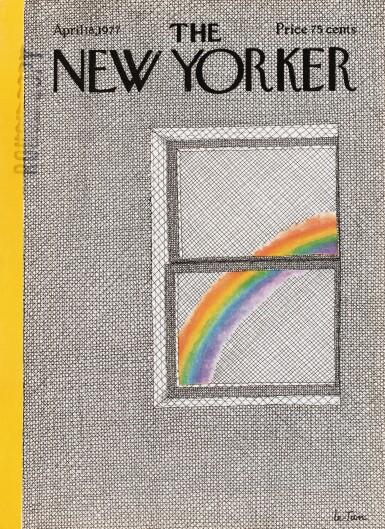 View 4. Thumbnail of Lot 49. Une couverture pour The New Yorker : un arc-en-ciel vu d'une fenêtre.