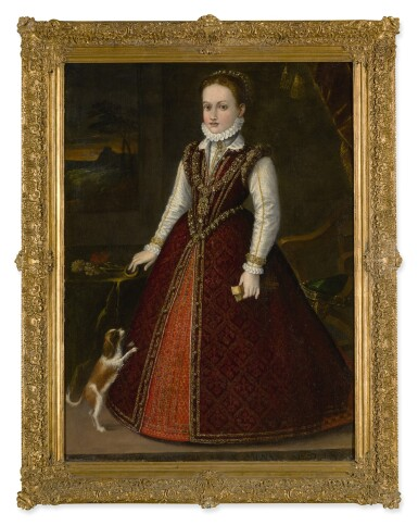 View 2. Thumbnail of Lot 508. ORAZIO VECELLIO | PORTRAIT OF MARGHERITA GONZAGA (1564 - 1618), AGE 10, FULL LENGTH, WITH A DOG.