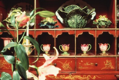 View 6. Thumbnail of Lot 119.  A GEORGE III RED JAPANNED BUREAU CABINET, SECOND QUARTER 18TH CENTURY.
