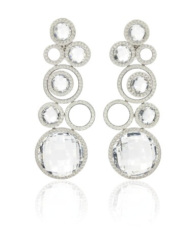 Pair of rock crystal and diamond pendentearrings, Michele della Valle