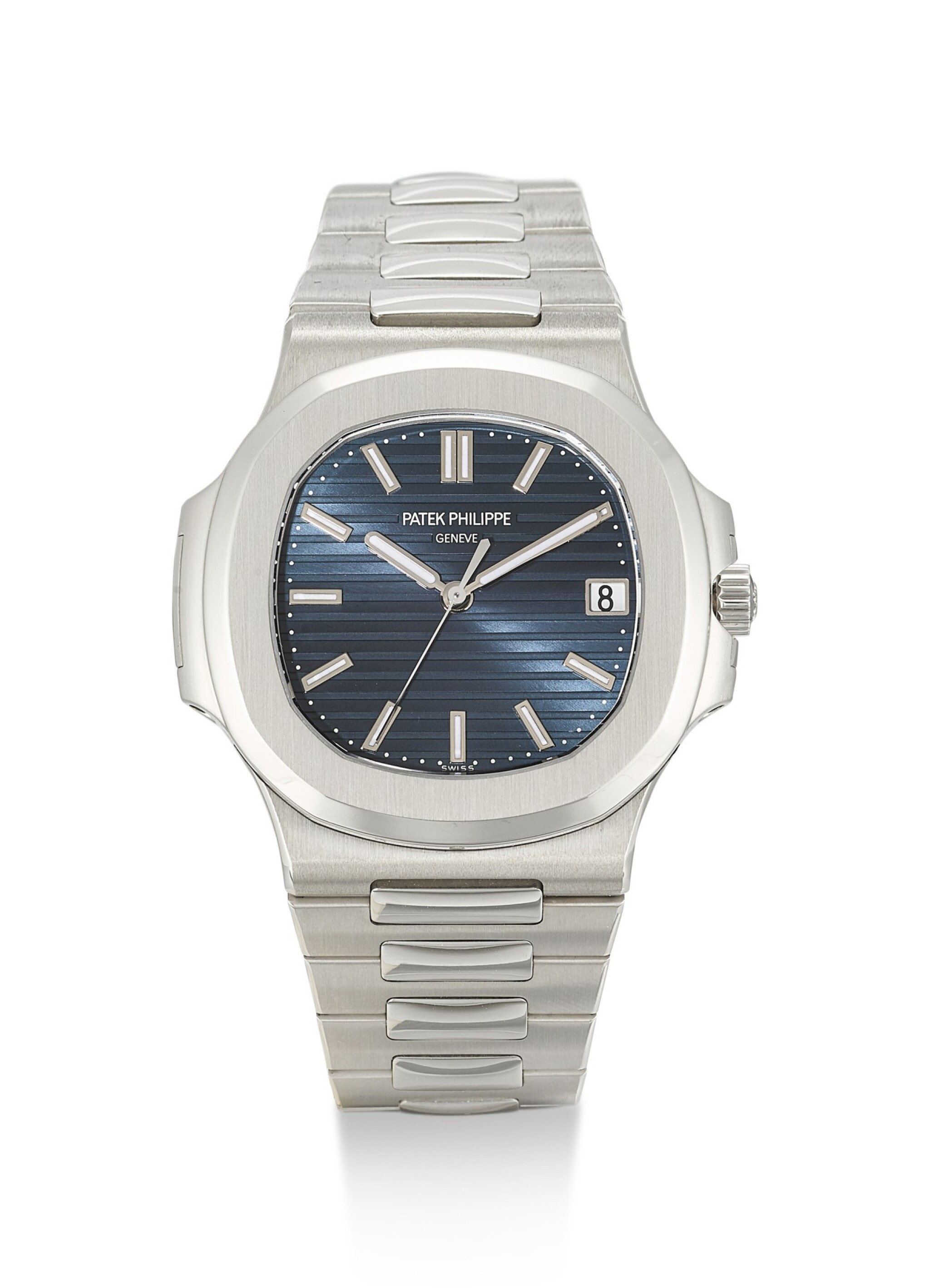 View full screen - View 1 of Lot 24. PATEK PHILIPPE | NAUTILUS, REFERENCE 5711, A BRAND NEW PLATINUM WRISTWATCH WITH DATE, BLUE JEANS DIAL AND BRACELET, CIRCA 2014       .