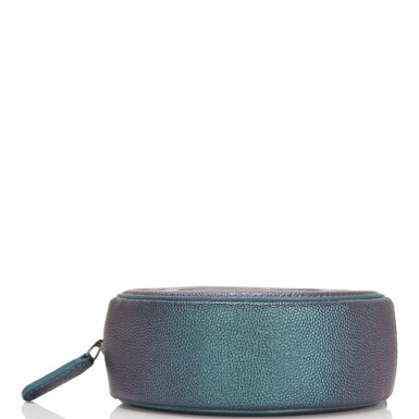 View 6. Thumbnail of Lot 118. Chanel Iridescent Dark Turquoise Caviar Round Mini Crossbody Bag.