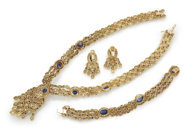 SAPPHIRE AND DIAMOND DEMI-PARURE (DEMI-PARURE IN DIAMANTI E ZAFFIRI)