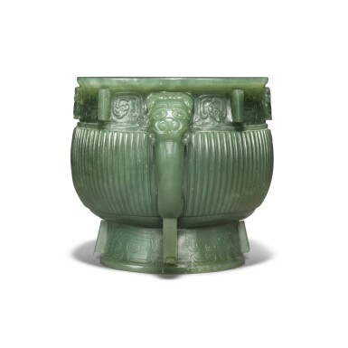 View 5. Thumbnail of Lot 85. An archaistic spinach-green jade gui-form censer, Qing dynasty.