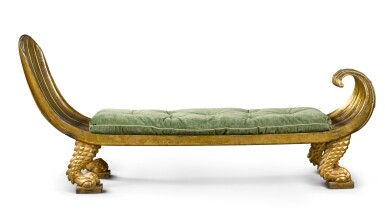 View 2. Thumbnail of Lot 163. A Regency parcel gilt and carved giltwood 'Egyptian Revival' daybed, circa 1815.