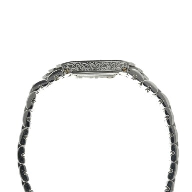 View 4. Thumbnail of Lot 74. A LADY'S WHITE GOLD AND DIAMOND SET BRACELET WATCH WITH ONYX AND DIAMOND-SET DIAL, CIRCA 2005.