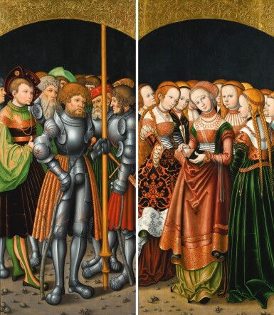 SIMON FRANCK | Wings from an altarpiece: Saint Achatius with a train of knights and nobles; and Saint Ursula with an entourage of maidens | 西蒙・弗蘭克 | | 祭壇畫翼屏:《聖阿加爵與一隊騎士和貴族》及《聖烏爾蘇拉與隨行的未婚女子》