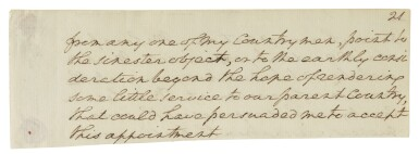 View 1. Thumbnail of Lot 164. WASHINGTON, GEORGE | Autograph manuscript fragment from Washington's undelivered first Inaugural Address .