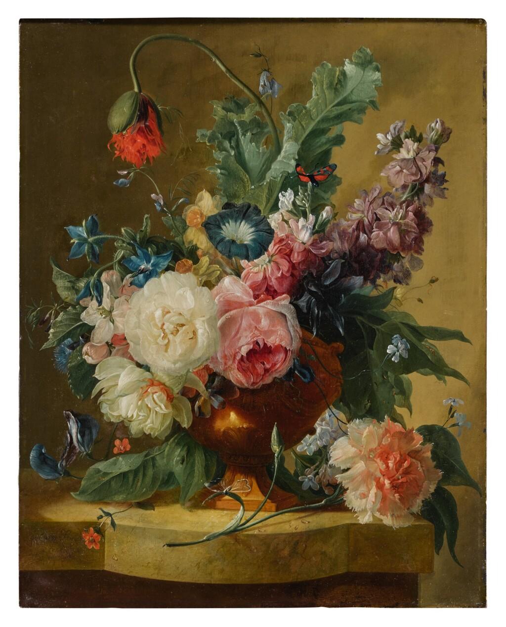 DUTCH SCHOOL, CIRCA 1750-1800   STILL LIFE OF FLOWERS IN A TERRACOTTA VASE ON A MARBLE LEDGE
