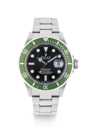 View 1. Thumbnail of Lot 1. ROLEX | 'KERMIT FLAT 4' SUBMARINER, REF 16610LV STAINLESS STEEL WRISTWATCH WITH DATE AND BRACELET CIRCA 2003 .