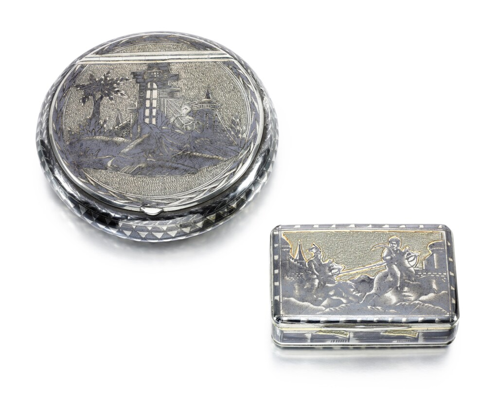 TWO PARCEL-GILT AND NIELLO SILVER BOXES, MOSCOW, FIRST HALF OF THE 19TH CENTURY