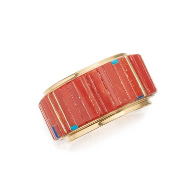 View 1. Thumbnail of Lot 131. CORAL, LAPIS LAZULI AND TURQUOISE CUFF-BRACELET, CHARLES LOLOMA.