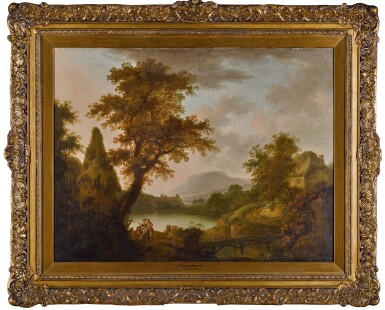 View 2. Thumbnail of Lot 195. Lake scene with a cottage and a group of figures.