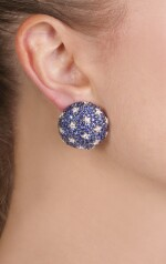 Pair of sapphire, ruby and diamond ear clips, 'Stars and Stripes', Michele della Valle