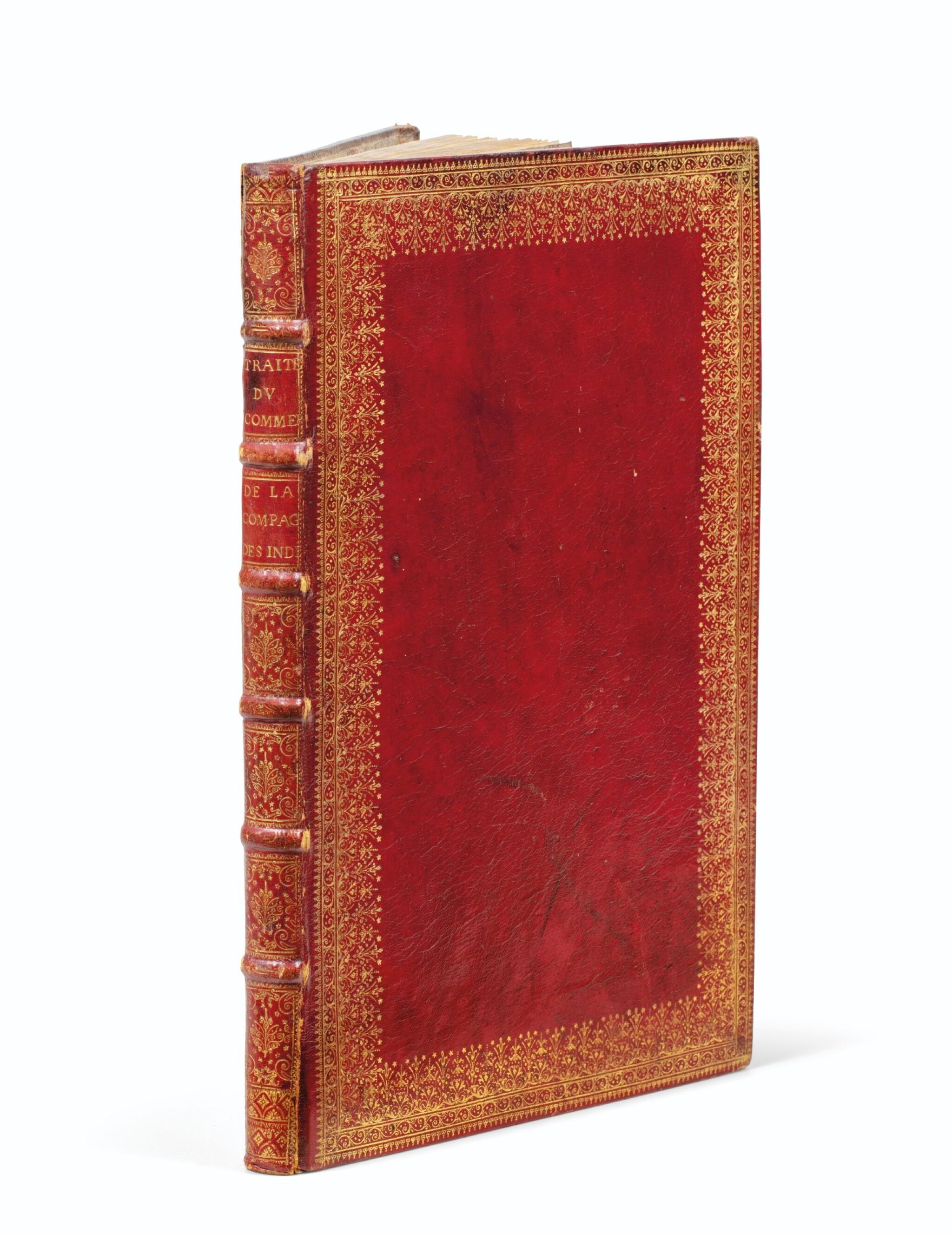 View full screen - View 1 of Lot 203. COMPAGNIE DES INDES. Manuscrit. Traité du commerce, 1724. In-fol. maroquin rouge à dentelles de l'époque..