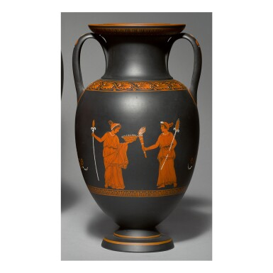 A WEDGWOOD BLACK BASALT 'ENCAUSTIC'-DECORATED TWO-HANDLED AMPHORA LATE 18TH CENTURY