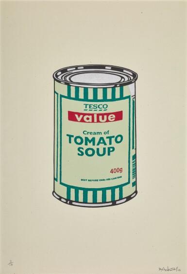 ロット27のビュー1。バンクシー| スープ缶(グリーン)。