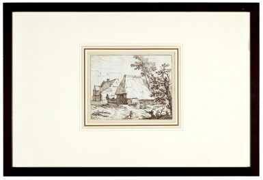 View 3. Thumbnail of Lot 42. View of Thatched Farm Buildings, with a farmer and his Dog in the Foreground.
