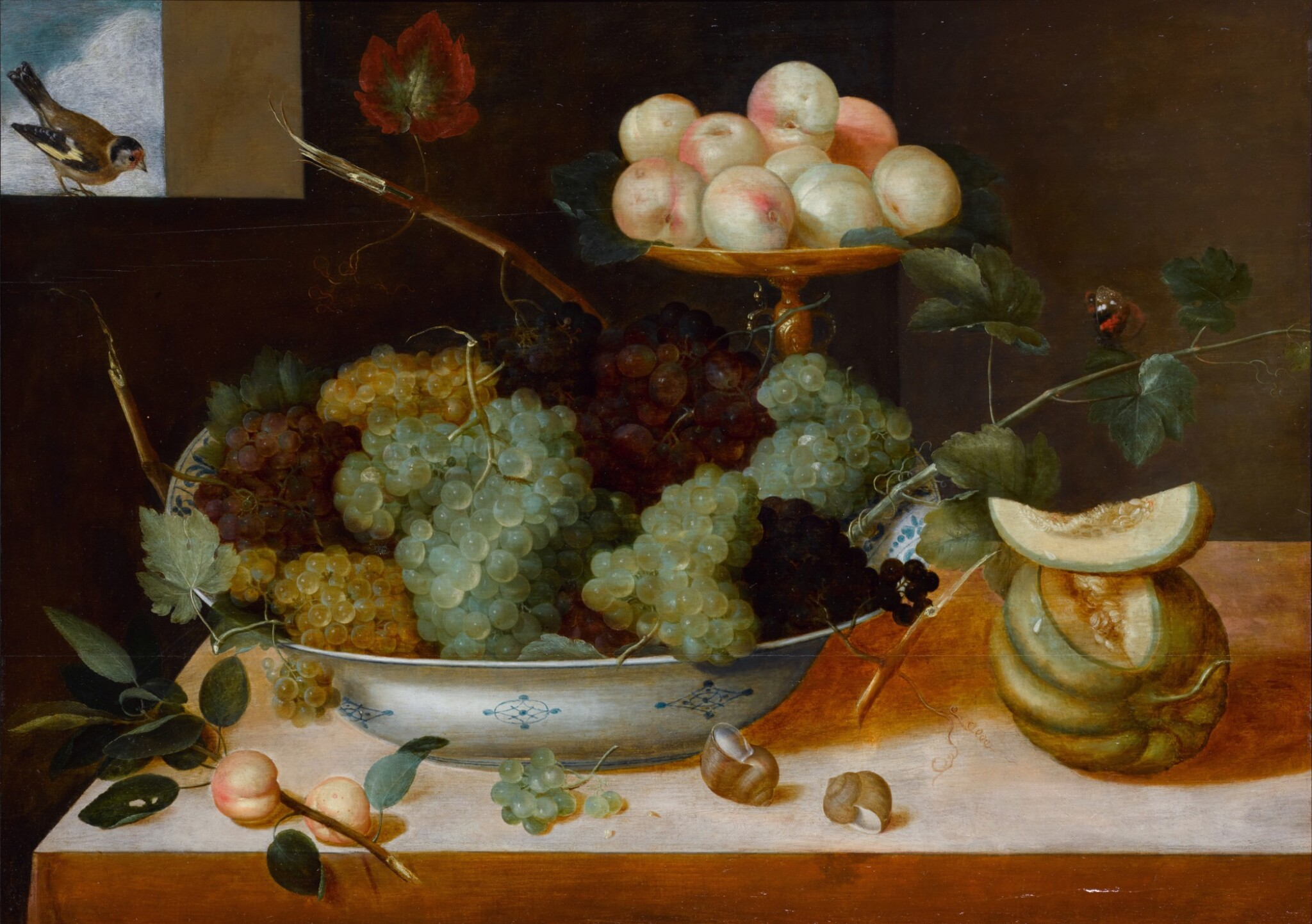 View 1 of Lot 137. Still life with grapes in a porcelain dish and peaches on a tazza, with melons and snails.