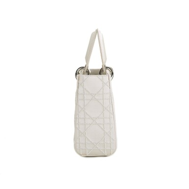 View 4. Thumbnail of Lot 750. DIOR | CREAM LADY DIOR MINI BAG IN SATIN WITH MINI PEARL BEADING CANNAGE AND CRYSTAL TRIM.