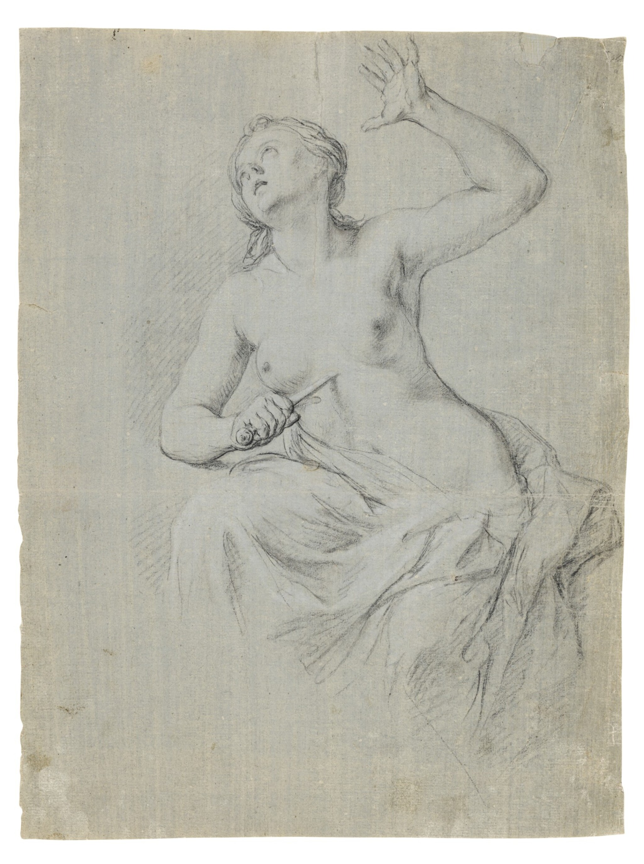 View full screen - View 1 of Lot 71. Recto: The Death of Lucretia Verso: A compositional study with two figures.