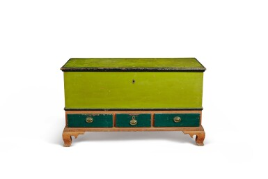 View 2. Thumbnail of Lot 1404. CHIPPENDALE GREEN AND RED PAINTED PINE BLANKET CHEST, PENNSYLVANIA, CIRCA 1800.