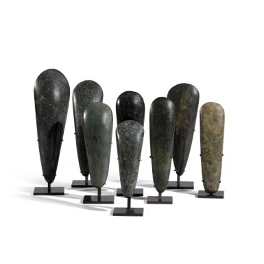 View 2. Thumbnail of Lot 80. Papua New Guinea, Lake Sentani, late 19th/early 20th century | Eight Adze Ceremonial Blades (Obligation Stones).