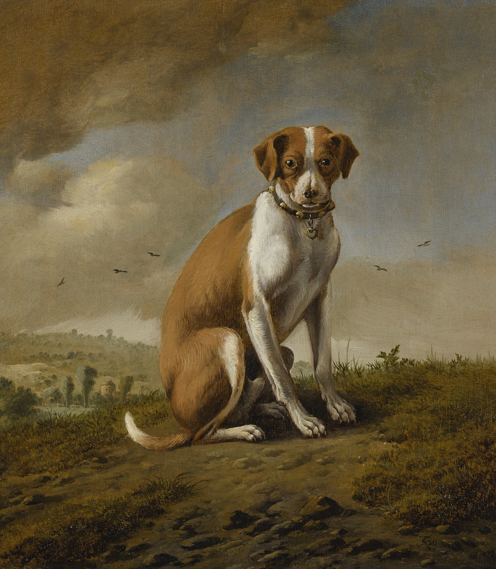 View full screen - View 1 of Lot 869. Attributed to Jan Wijnants   A DOG IN A LANDSCAPE.