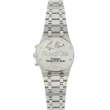 View 5. Thumbnail of Lot 12. REFERENCE 25860ST.OO.110ST.05 ROYAL OAK A STAINLESS STEEL AUTOMATIC CHRONOGRAPH BRACELET WRISTWATCH WITH DATE AND BRACELET, DONATED AND SIGNED BY GEORGE H.W. BUSH TO A SAVE THE CHILDREN CHARITY IN 2007.