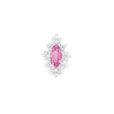 View 1. Thumbnail of Lot 482. MORGANITE AND DIAMOND BROOCH, HARRY WINSTON | 摩根石配鑽石別針,海瑞溫斯頓.